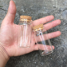 37*70*27mm 50ml Glass Bottles With Cork Transparent Empty Glass Vials Jars 50pcs/lot Wholesale Glass Bottles Free Shipping