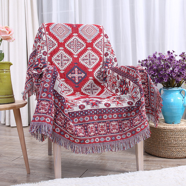 100 Cotton Thread Blanket Bohemian Style Home Decor Tapestry Sofa Cover Blankets Piano