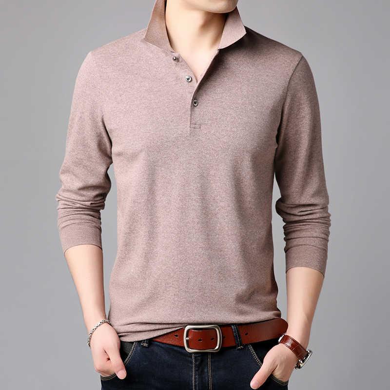 2021 상위 학년 새로운 패션 브랜드 폴로 셔츠 망 솔리드 컬러 긴 소매 슬림 맞는 소년 한국 Poloshirt 캐주얼 남성 의류