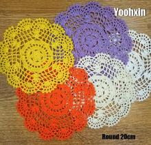 Modern lace cotton table place mat pad Cloth crochet round placemat cup mug wedding tea coffee coaster dining doily kitchen