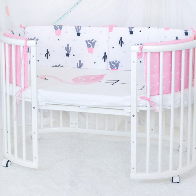 Baby Bed Bumper Baby Crib Protector Safe Sleeping Cartoon Cot Bumpers In Crib For Newborn Cotton Infant Cushion Baby Bumper