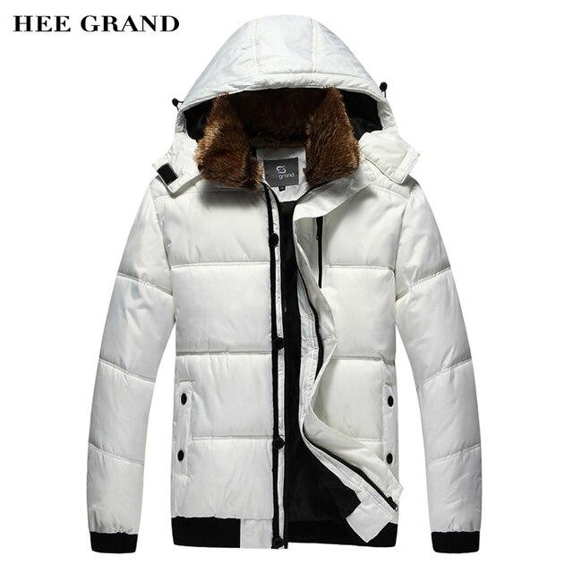 HEE GRAND Men's Parkas Winter Overcoat Solid Color Warm Fur Collar Hooded Detachable Outwear Winter Jacket