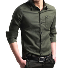 Men military shirt  Autumn Winter Casual men cotton Military Cargo Slim Button Solid long sleeve Harajuku c0323