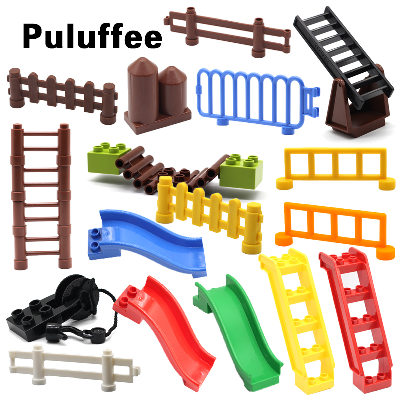 Fence Sliding Ladder Cliver Stairway Set Bricks Big Particles Building Blocks Accessory Kids DIY Gift Toys Compatible With Duplo