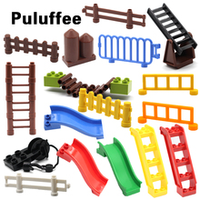 Fence Sliding ladder Cliver stairway Set Bricks Big Particles Building Blocks accessory Kids DIY Gift Toys Compatible with Duplo big particles model building blocks forest paradise house sets children toys diy city bricks compatible with duplo birthday gift