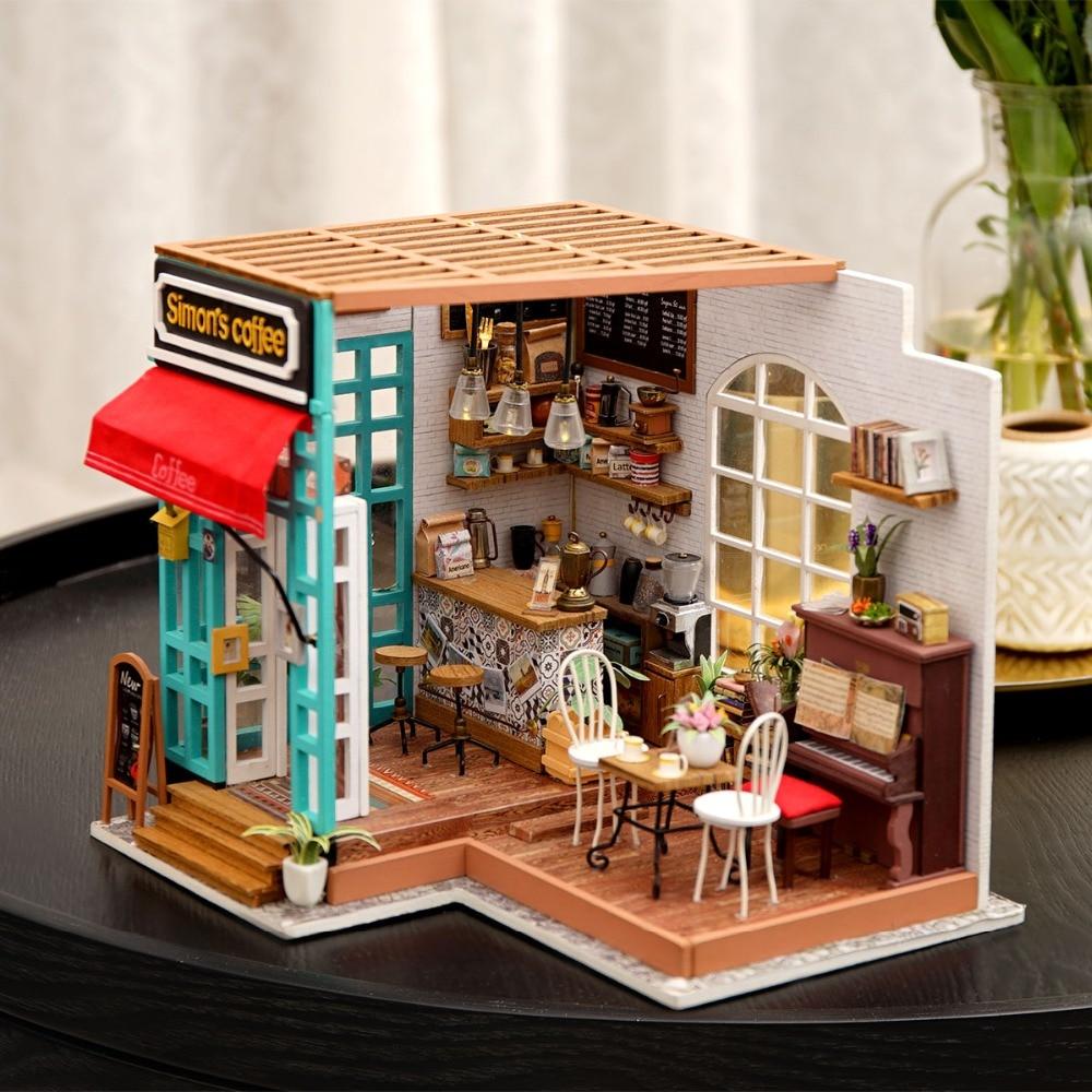 ROBOTIME DIY Wooden Dollhouse Kits Miniature Doll House Model Kits to build Toy