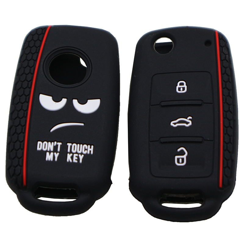 Dont Touch My Key Silicone Keyless Remote Cap Cover ForVW Caddy GolfJetta Polo Passat Scirocco Tiguan For Skoda Octavia Seat(China)