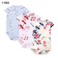 V-TREE Girls Romper Chinese Style Short Cotton Baby Rompers Summer Clothing For Babies Jumpsuit Girls