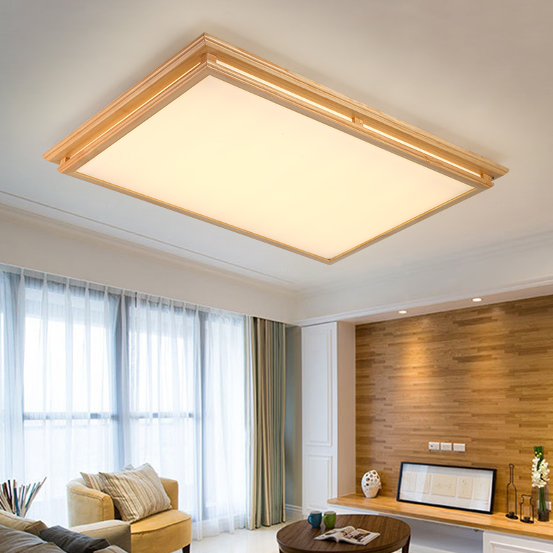 Rectangle Square Chinese Japanese Korean Style Acrylic Wooden LED Ceiling Light For Foyer Study Bedroom Dinning Room Lounge Area