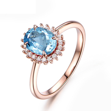 QYI 925 Silver 1.25 ct Oval Cut Natural Topaz Halo Engagement Ring Rose Gold Gemstone Wedding Rings For Women Party Jewelry