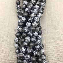 цена MY0675 Free Shipping Snowflake Obsidian Beads, Round Natural Stone Alabaster Beads For Jewelry Making Diy Bracelet Or Necklace онлайн в 2017 году