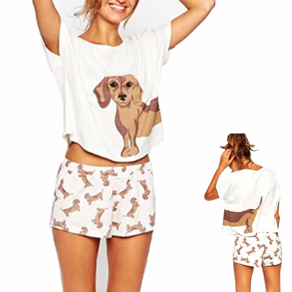 Women's   Pajama     Sets   Dachshund Pug Corgi Chihuahua German Shepherd Dog Crop Top Shorts Elastic Waist Loose Pijama Mujer O-neck