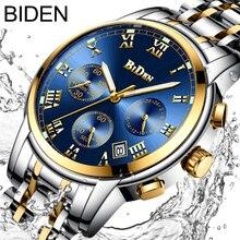 Biен лучший бренд класса люкс Хронограф Дата мужские часы многофункциональные часы нержавеющая сталь ремень бизнес кварцевые наручные 0060