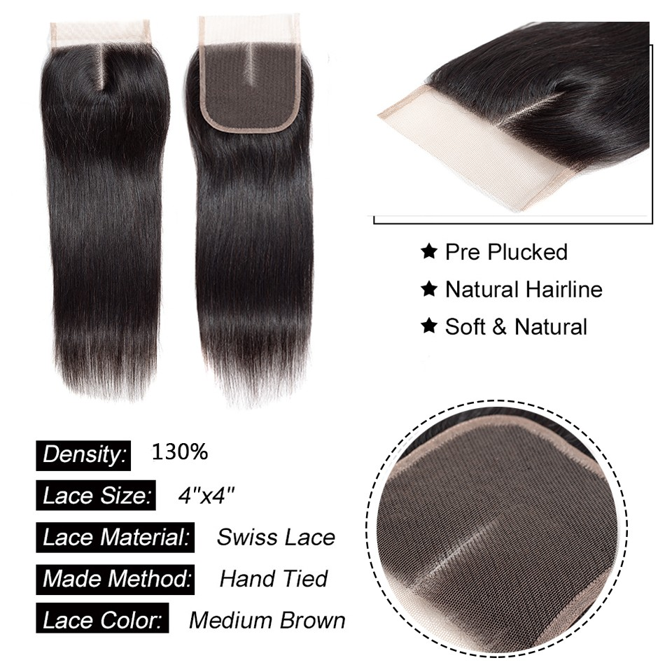 straight hair bundles with one pc lace closure straight human hair  (3)
