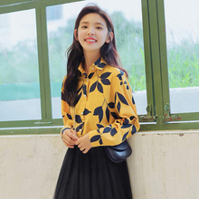 Vintage Leaf Printed Shirts Women 2019 New Long Sleeve Blouse Good Quality Cotton Loose Casual Lapel Tops Blusa Feminina