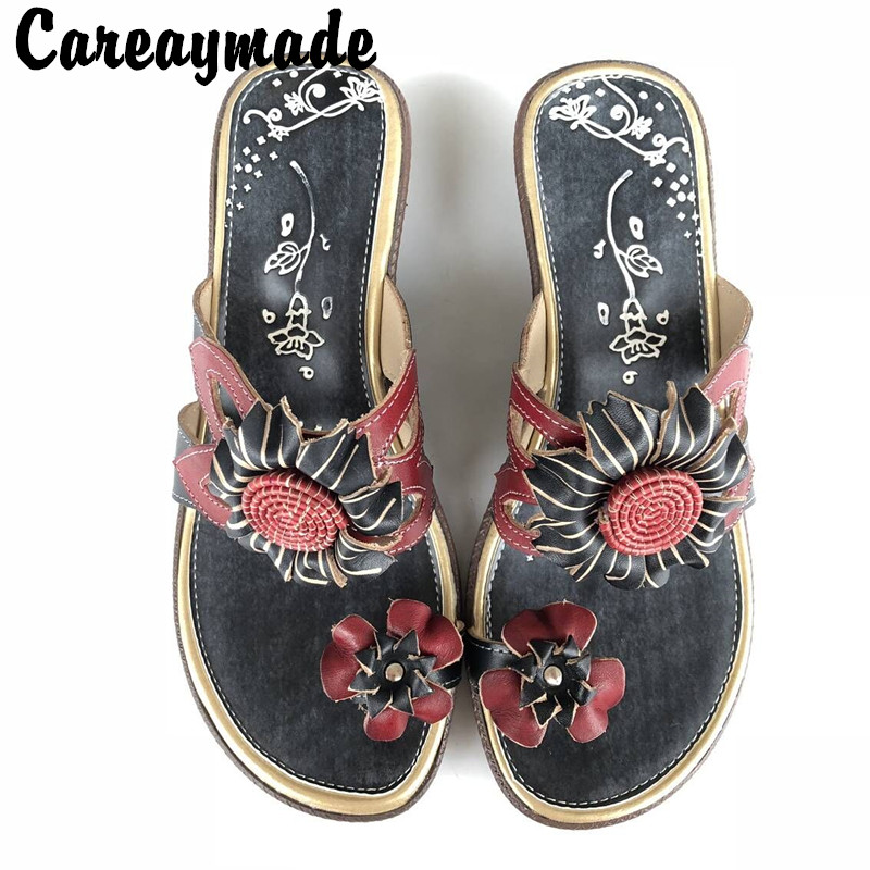 Careaymade-New summer soft bottom Leather Flip Flops comfortable folk style hand-painted color flowers anti-skid slippersCareaymade-New summer soft bottom Leather Flip Flops comfortable folk style hand-painted color flowers anti-skid slippers