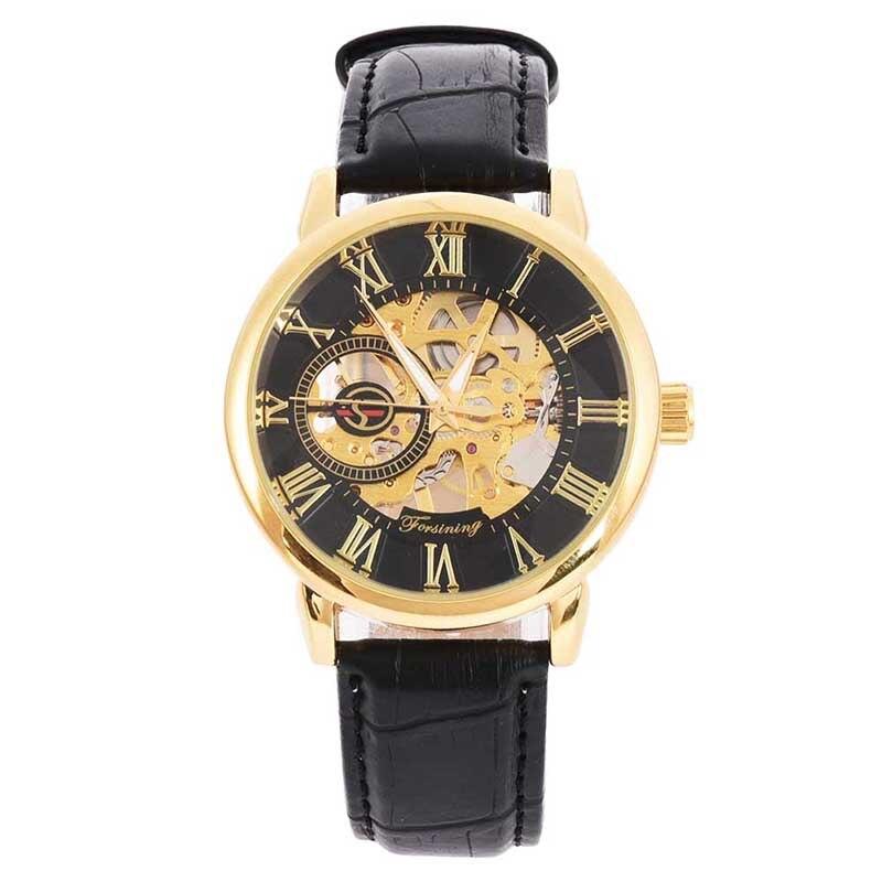 Männer Mechanische Uhr Gewinner Luxus Stahl Halbautomatische Klassische Skeleton Leder Band Armbanduhr Relogio Masculino