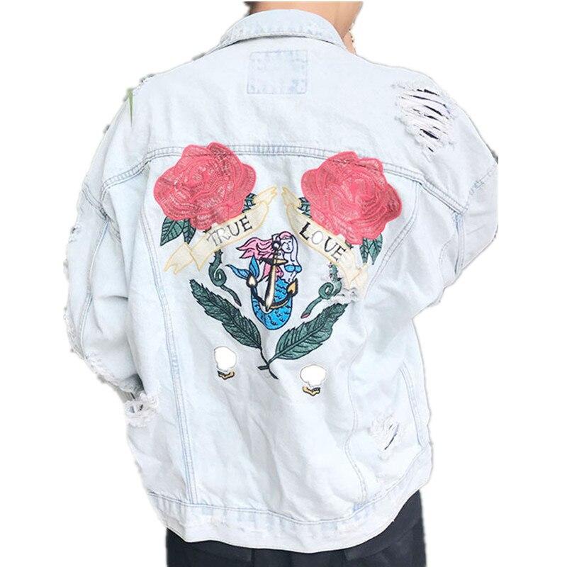 Denim Jacket Men Original Designs Rose Embroidery Patch Blue Jean Jacket For Men Hip Hop Distressed Hole Denim Jackets patch design distressed denim jacket