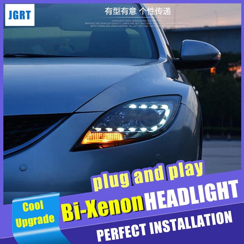 Новый автомобильный светильник s 2008 2013, для Mazda M6, биксеноновые линзы h7, комплект ксеноновых фар, светодиодный светильник drl