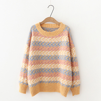 H.SA Women Rainbow Sweaters 2018 Autumn Winter New Pullover and Jumpers Long Sleeve Colorful Striped Chic Pull Sweaters Outwear