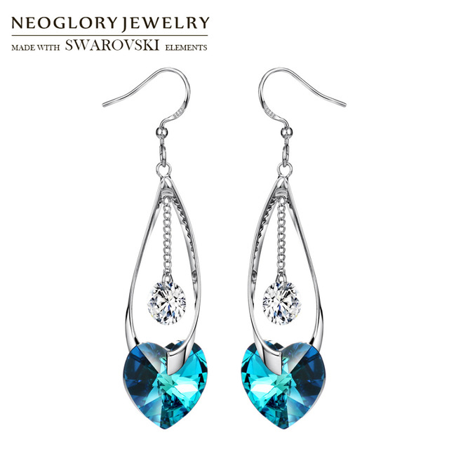 Neoglory Austria Crystal   Zircon Long Dangle Earrings Romantic Blue Heart  Design For Luxuriant Party Exquisite Classic Lady 05cca9ba9026