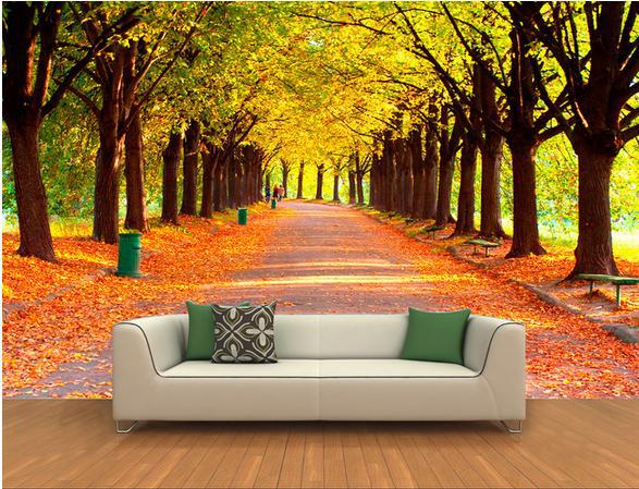 wall sticker 3d autumn woods woods scenery wallpaper mural