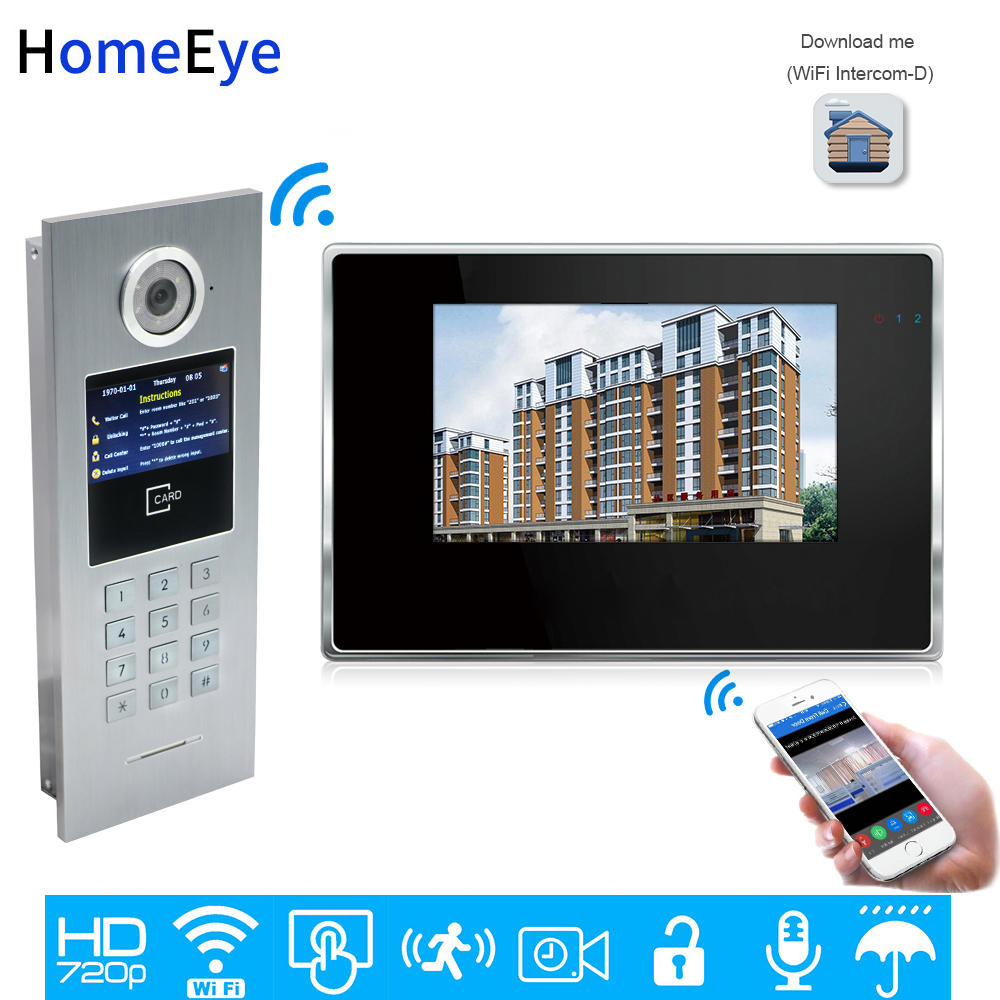 720P WiFi IP Video Door Phone Intercom Video DoorBell Home Access Control System Password/RFID Card iOS Android APP Touch Screen