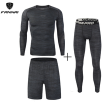 New 3Pcs Running Set Men's Quick Dry Men Compression Sport Suit Fitness Tight Gym Clothing Jogging Suit Workout Men's Sportswear цена и фото