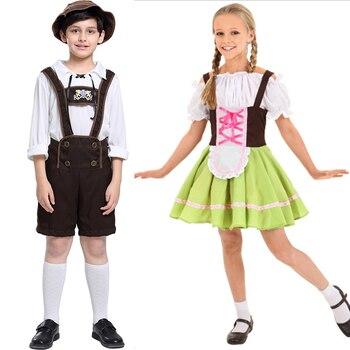 I ragazzi e Le Ragazze Oktoberfest Costume Cosplay Ragazzi E Ragazze Bavarese di Carnevale Abbigliamento per bambini Germania Beer Festival Cameriere Costume