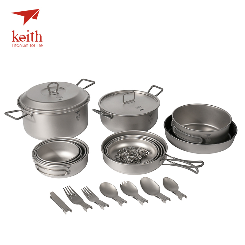 Keith Titanium Cooking Pots Bowls Large Outdoor Camping Set For 4-5 Person 21 Pcs In 1 Lot Picnic Cookware Tablewares Set Ti6201