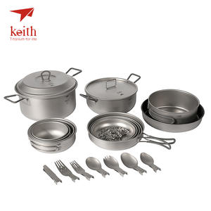 Keith Bowls Tablewares-Set Cooking-Pots Picnic Cookware Outdoor Titanium for 4-5-Person