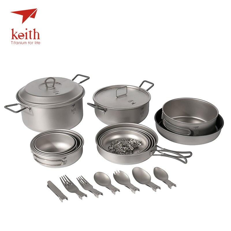 Keith Titanium casseroles bols grand Camping en plein air ensemble pour 4-5 personne 21 pièces en 1 Lot pique-nique ustensiles de cuisine Set de vaisselle Ti6201