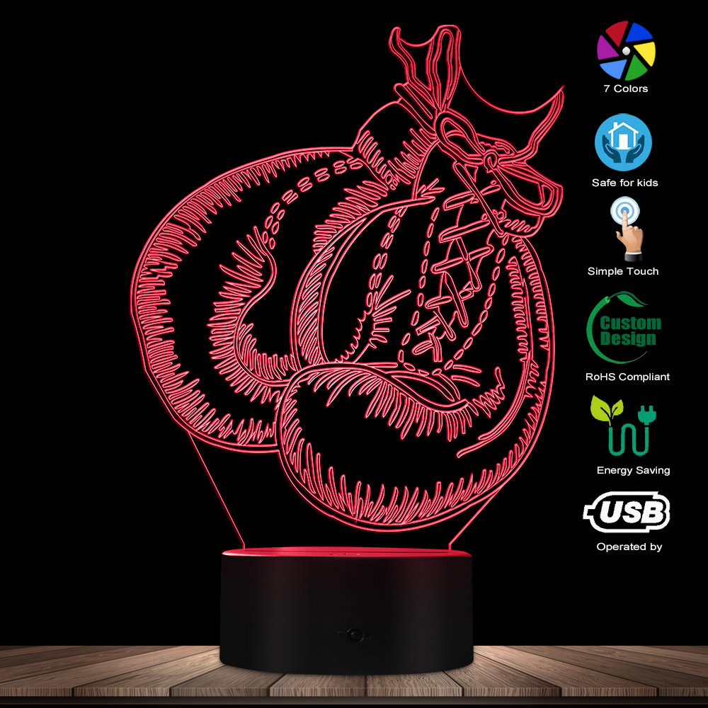 Boxing Gloves LED Desk Lamp Boxing Lighting Art 3D Optical Illusion Night Lights Sports Decor Gift For Boxing Lovers Athlete