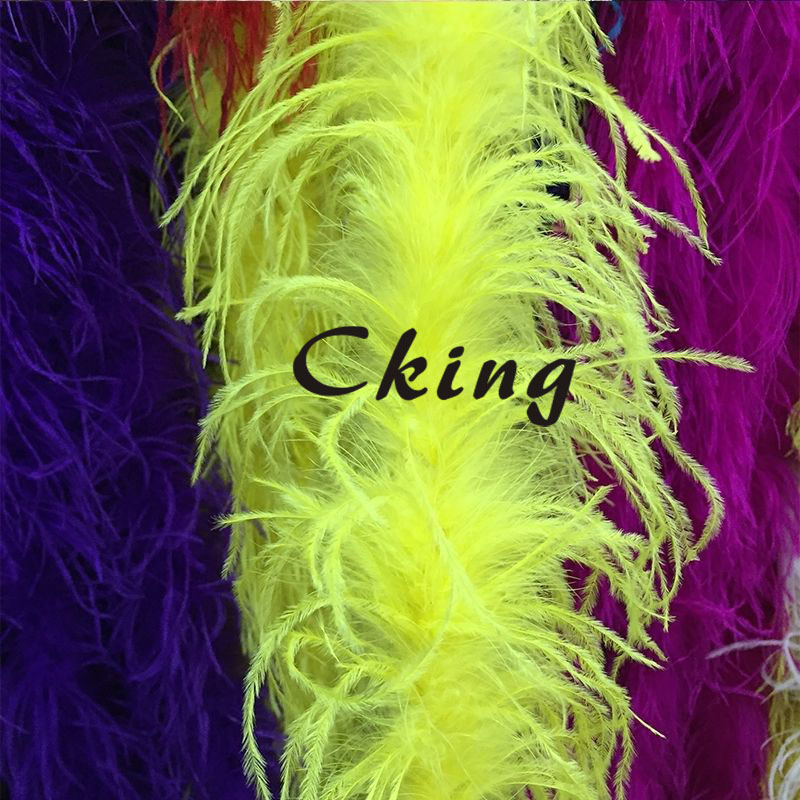 Dyed ostrich feather boas 20pcs Yellow ostrich feather fringes strips 2 meter long per pc 2plys ostrich feather scarf
