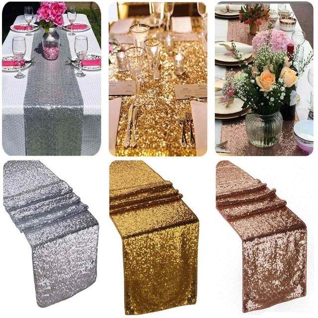 Sequin bảng runner vàng sáng bóng màu bạc sang trọng phong cách bán buôn thêu sequin bảng runner cho đám cưới khách sạn ăn tối bên
