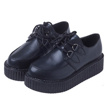 New Women Creepers Platform Shoes White Black Women Flats Hot Sale Shoes Woman Size 35-41