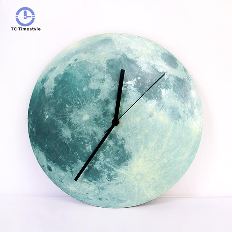 Kreative Luminous Wanduhr Wohnzimmer 40 Cm Hause Dekoration Zubehör Moderne  Mond Wanduhren Mond Aufkleber Uhren