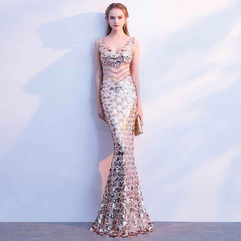 24f290f3d4d9f weiyin 2019 Luxury V Neck Mermaid Tulle Evening Dresses Crystal Sequin  Zipper Long Evening Gowns Party Prom Dresses WEIYIN483