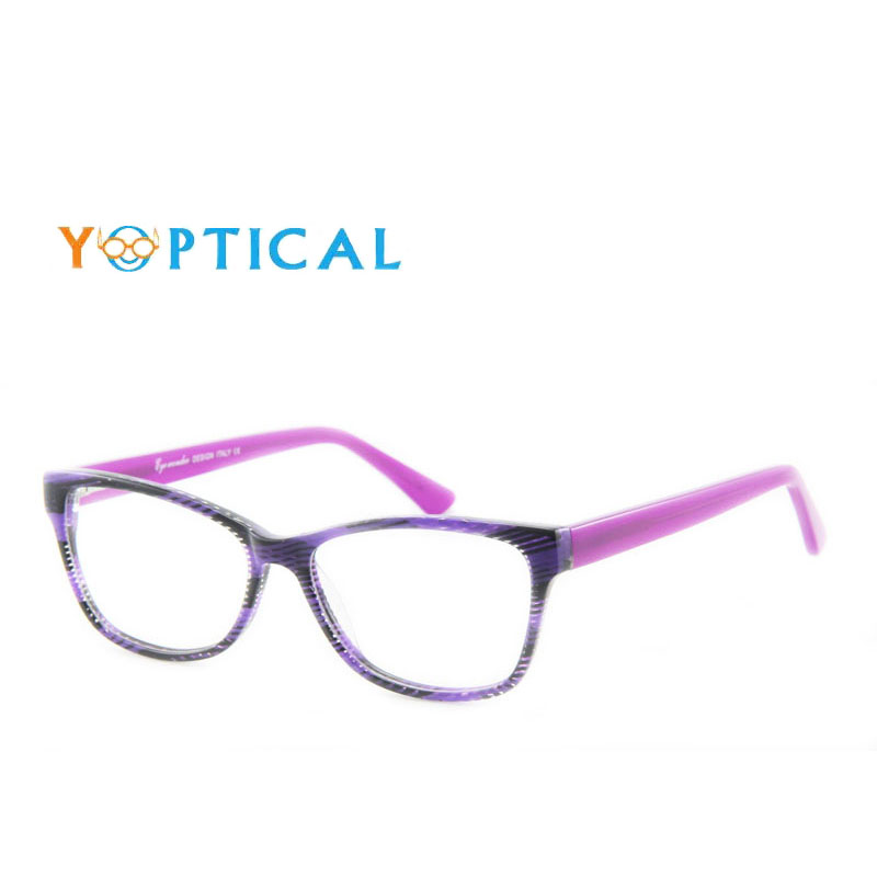 Eye wonder Lady\'s Purple Striped Glasses Frames Designer Optical ...