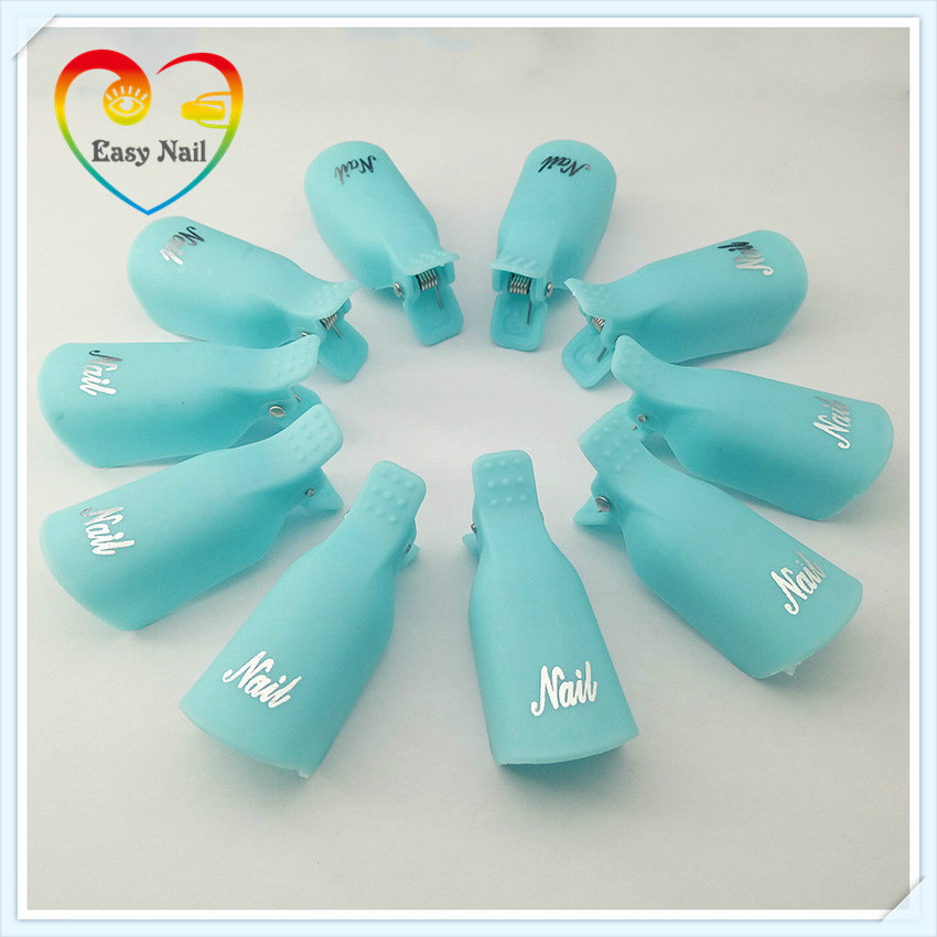 EasyNail 10pcs Turq. Nail Art Plastic Gel Nail Polish Remover Clips Soak Off Cap Clip UV Gel Polish Tool for removal of varnish