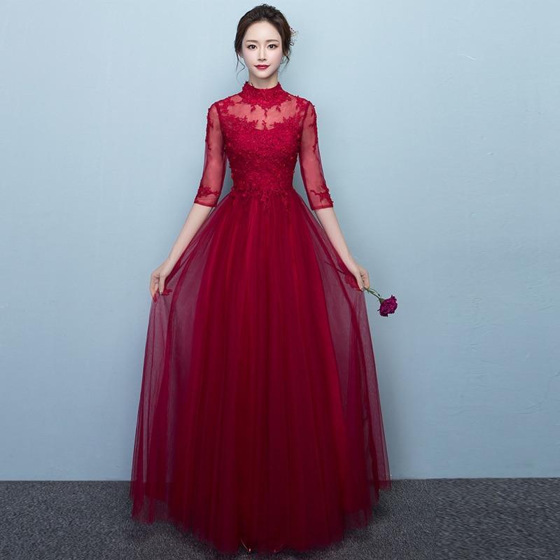 Vestidos de madrinha 2018 new ALine Tulle see 3/4 sleeves burgundy   bridesmaid     dresses   long plus size wedding party   dress