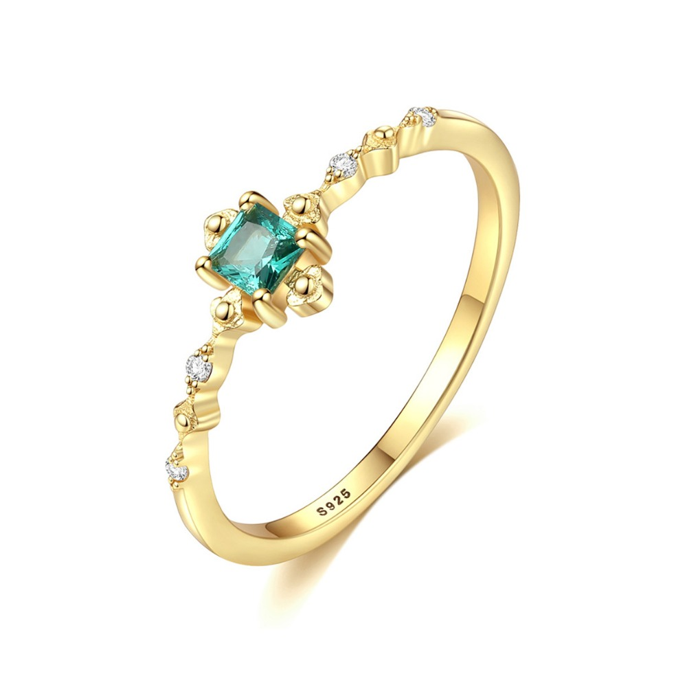 INALIS New Elegant Luxurious Finger Ring 925 Sterling Silver Fine Jewelry Inlay Single Emerald Crystal Clear CZ Stone BijouxINALIS New Elegant Luxurious Finger Ring 925 Sterling Silver Fine Jewelry Inlay Single Emerald Crystal Clear CZ Stone Bijoux