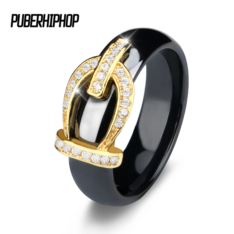 New Retro Crystal Drill Hollow Crown Shaped Black White Ceramic Rings For Women Gold Color Crown Party Wedding Ring Jewelry Gift bas victoria