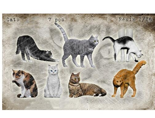 1/16 Lovely Cats Modern INCLUDE 7   Resin Model Miniature  Figure Unassembly Unpainted