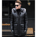 FREE SHIPPING 2017 New Male Black Long Genuine Leather Down Coat Fox Fur Collar Real Sheepskin Slim Fit Men Winter Warm Coat