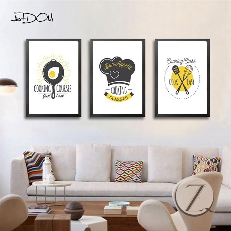 Kitchen Canvas Wall Decor: Aliexpress.com : Buy Artdom No Framed Minimalist Cartoon