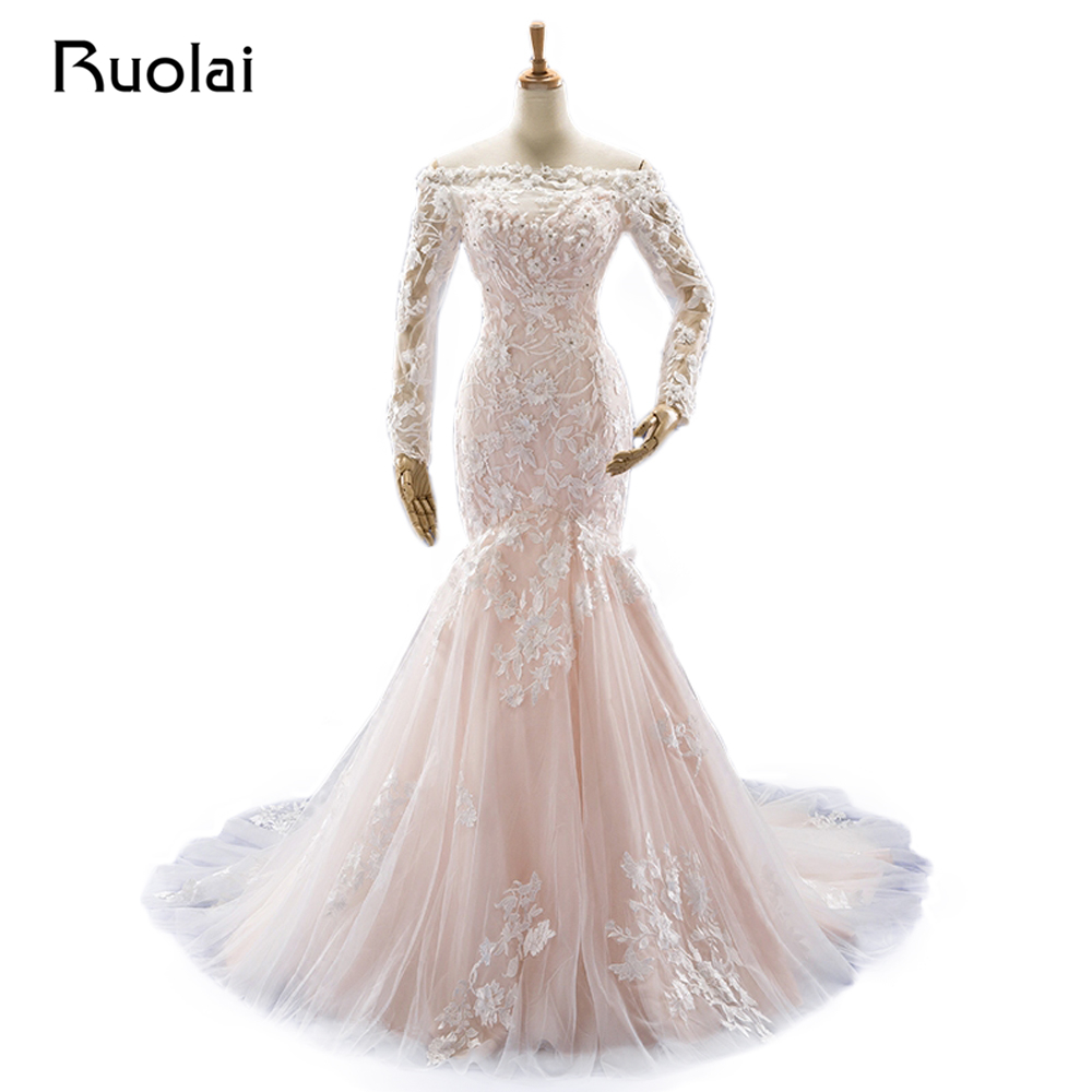Online Shop Real Picture Blush Wedding Dresses Long Sleeve Off the Shoulder  Beaded Lace Mermaid Wedding Gown Bridal Robe de Mariage FW64  f79db7352db2