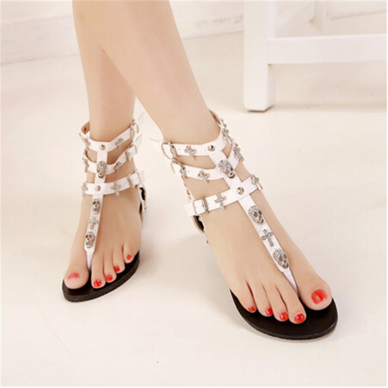 bf17ee84bab665 Woman fashion thong sandals Rhinestone Crosses Skull Rome flip flops women  flats for women flat slippers ladies size 35 40-in Women s Sandals from  Shoes on ...