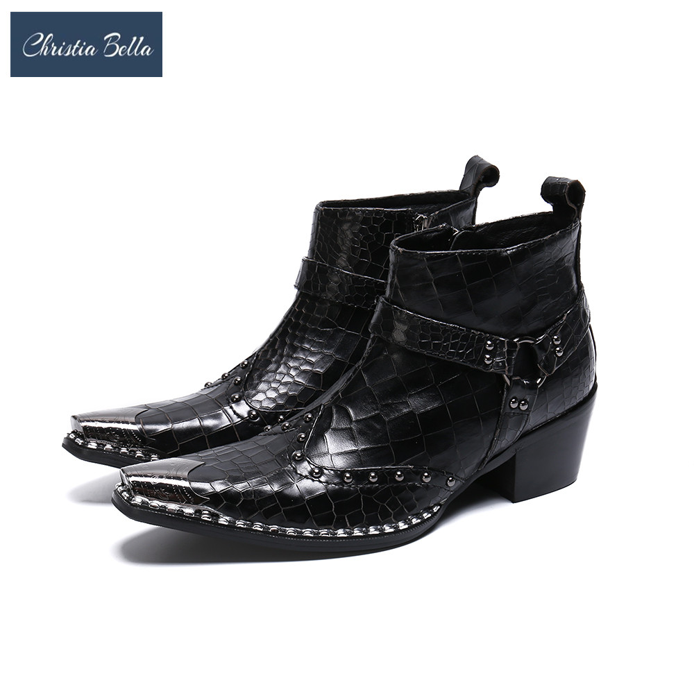 Christia Bella Fashion British Rivets Men Ankle Boots Punk Real Leather Motorcycle Boots Fashion Man Formal Dress Boot Plus Size