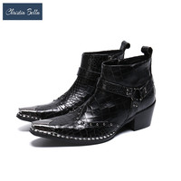 Christia Bella Fashion British Rivets Men Ankle Boots Big Size Real Leather Motorcycle Ankle Boots Party Business Men Boot Botas